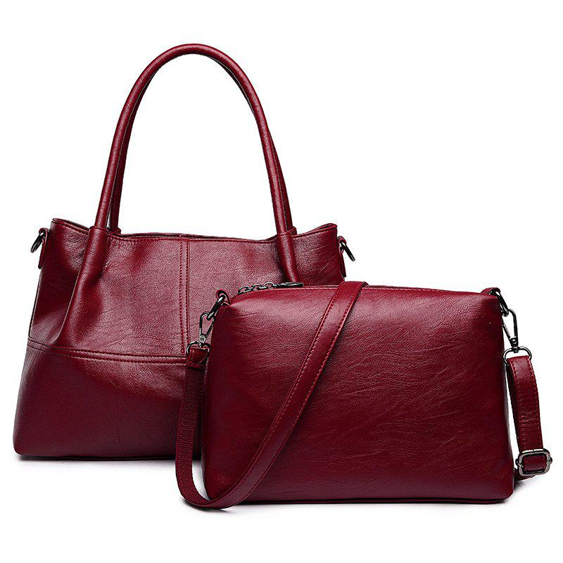 PU Leather 2 Pieces Handbag Set - WINE RED