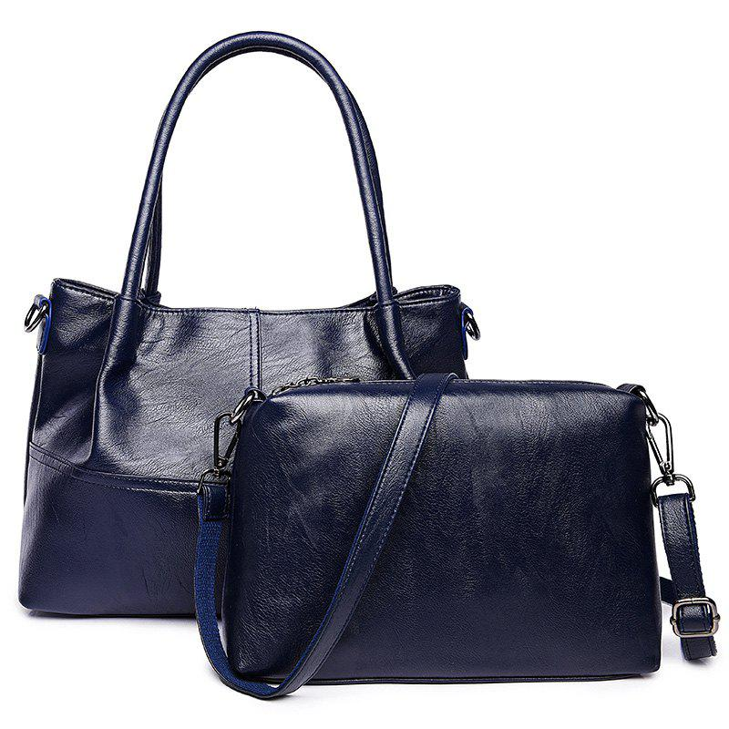 PU Leather 2 Pieces Handbag Set - BLUE