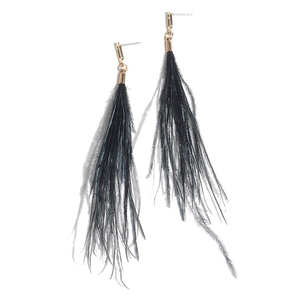 Feather Bohemian Drop Earrings - BLACK
