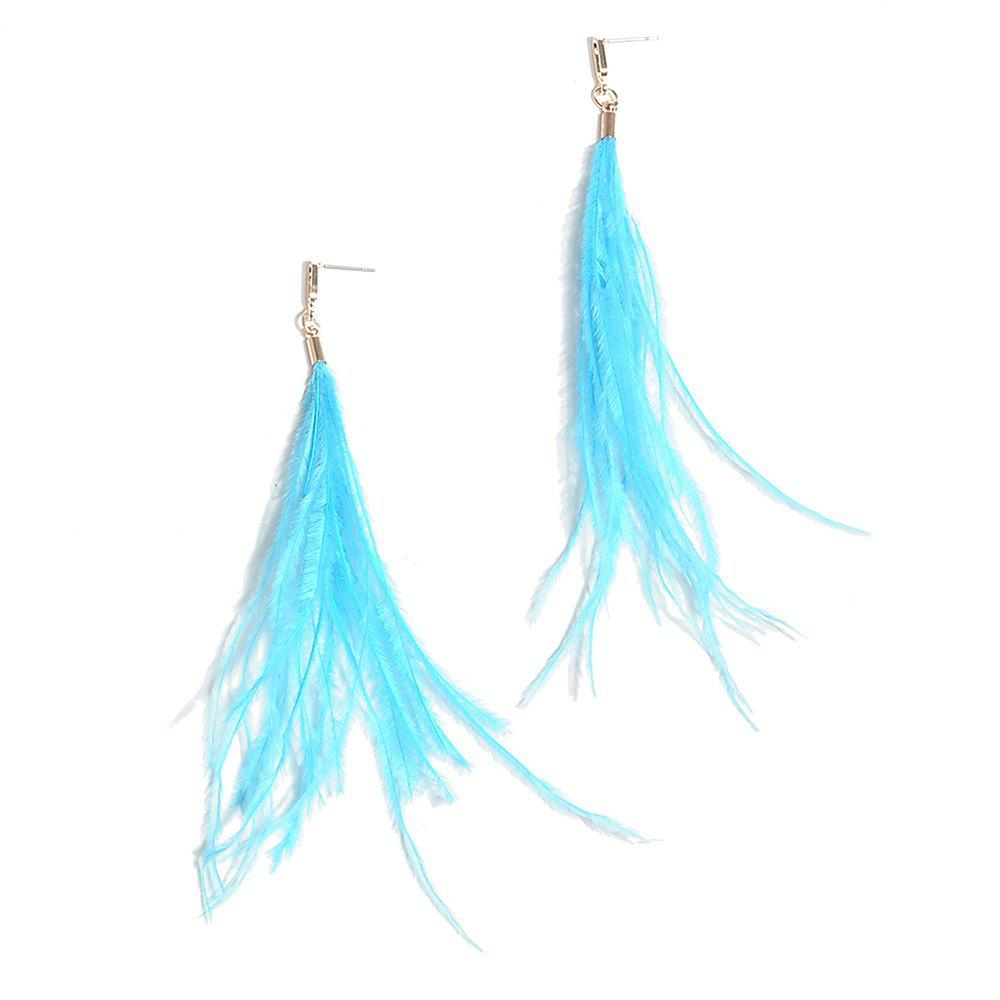 Feather Bohemian Drop Earrings - BLUE
