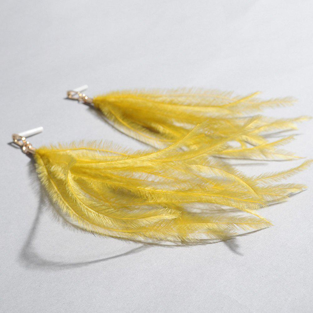 Feather Bohemian Drop Earrings - YELLOW