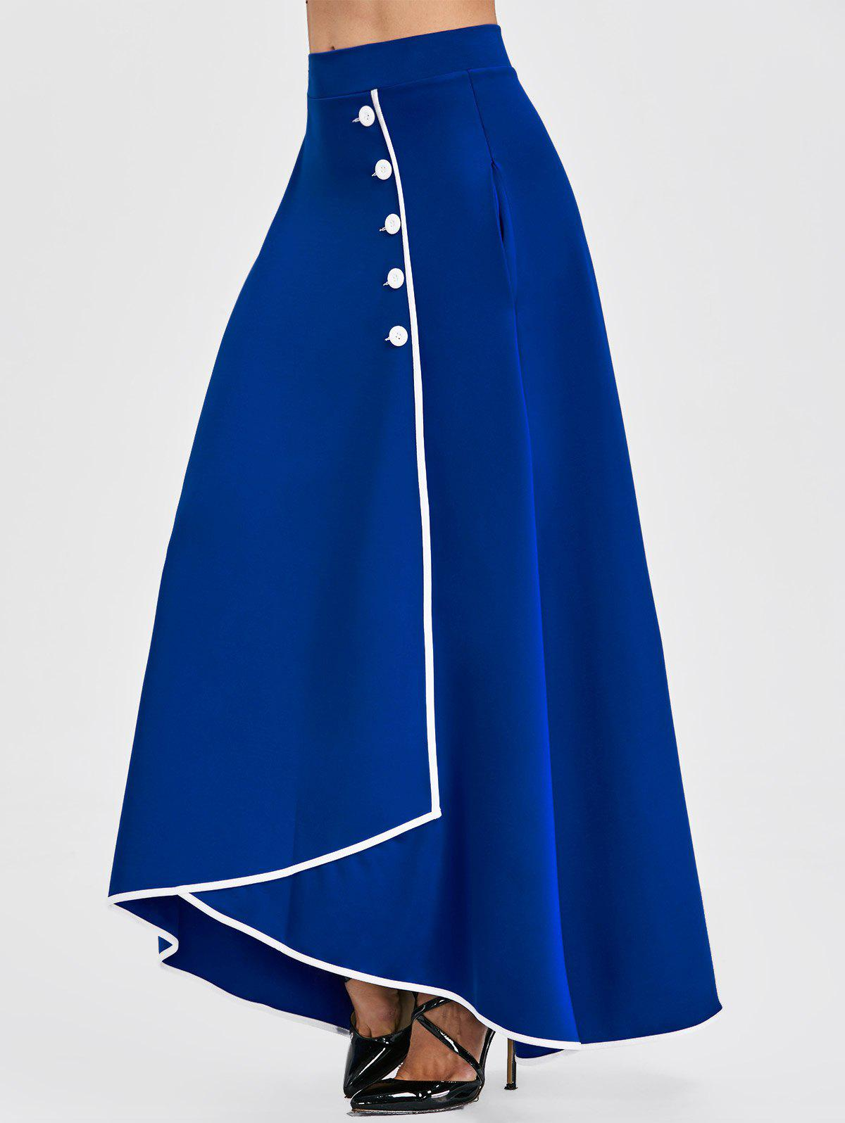 Buttons A-line Asymmetric Maxi Skirt - BLUE 2XL