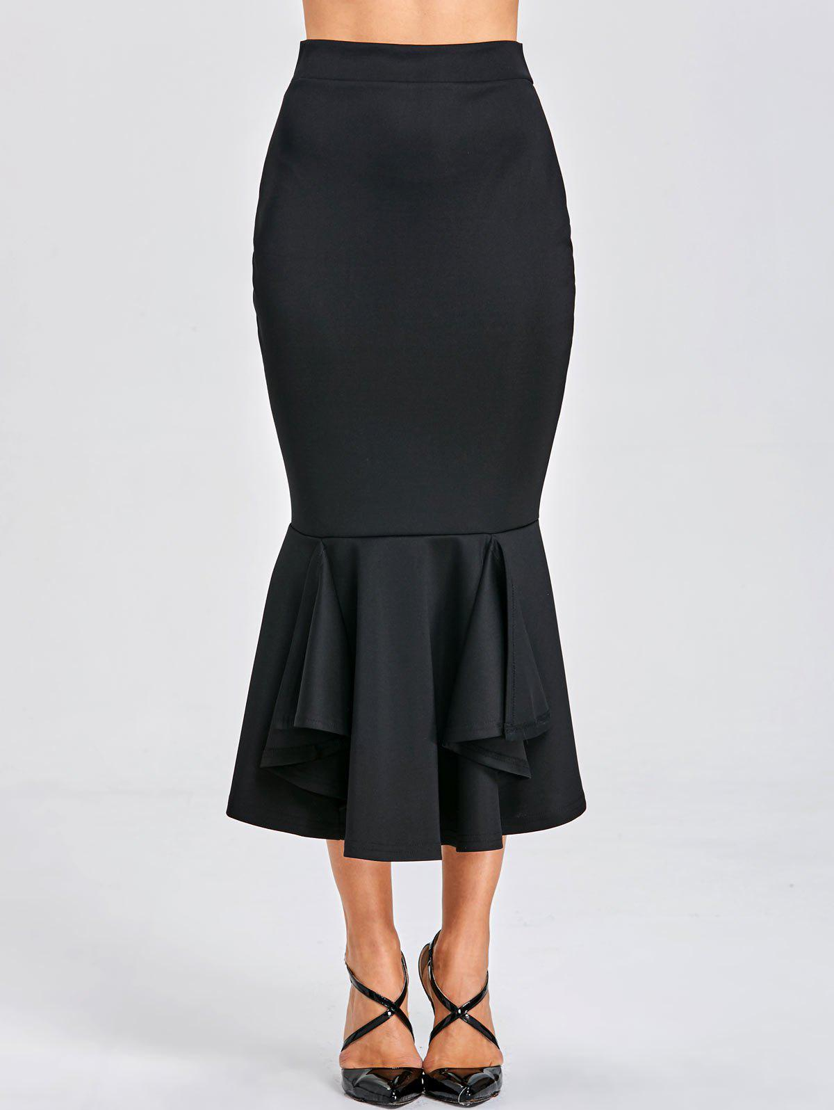 Bodycon Mermaid Midi Skirt - BLACK XL