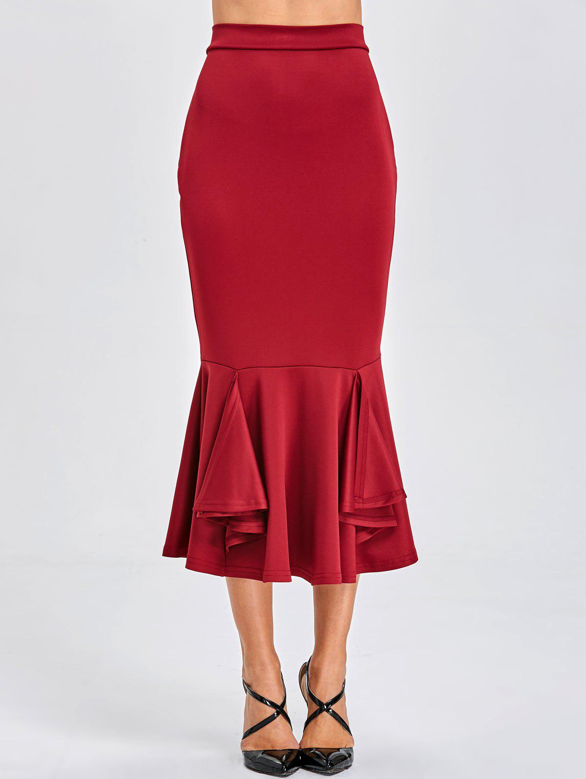 Bodycon Mermaid Midi Skirt - BURGUNDY L