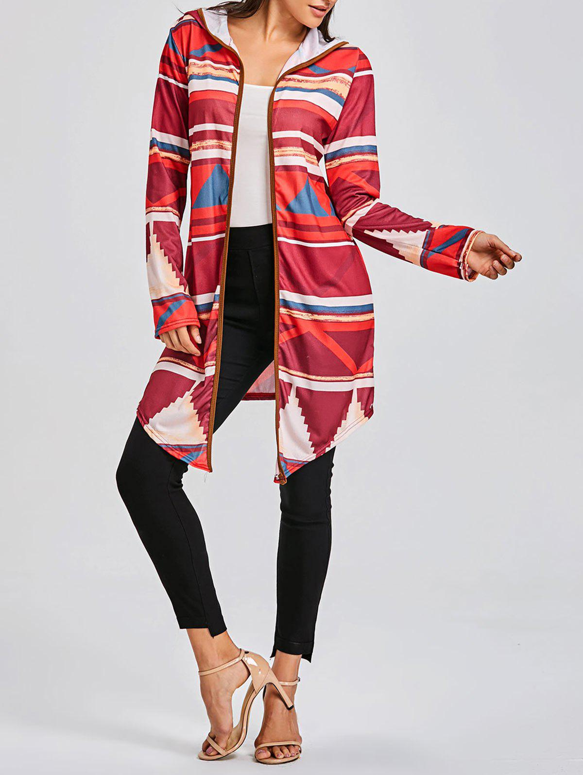 Color Block Geometric Print Hooded Cardigan, RED, XL in Sweaters ...