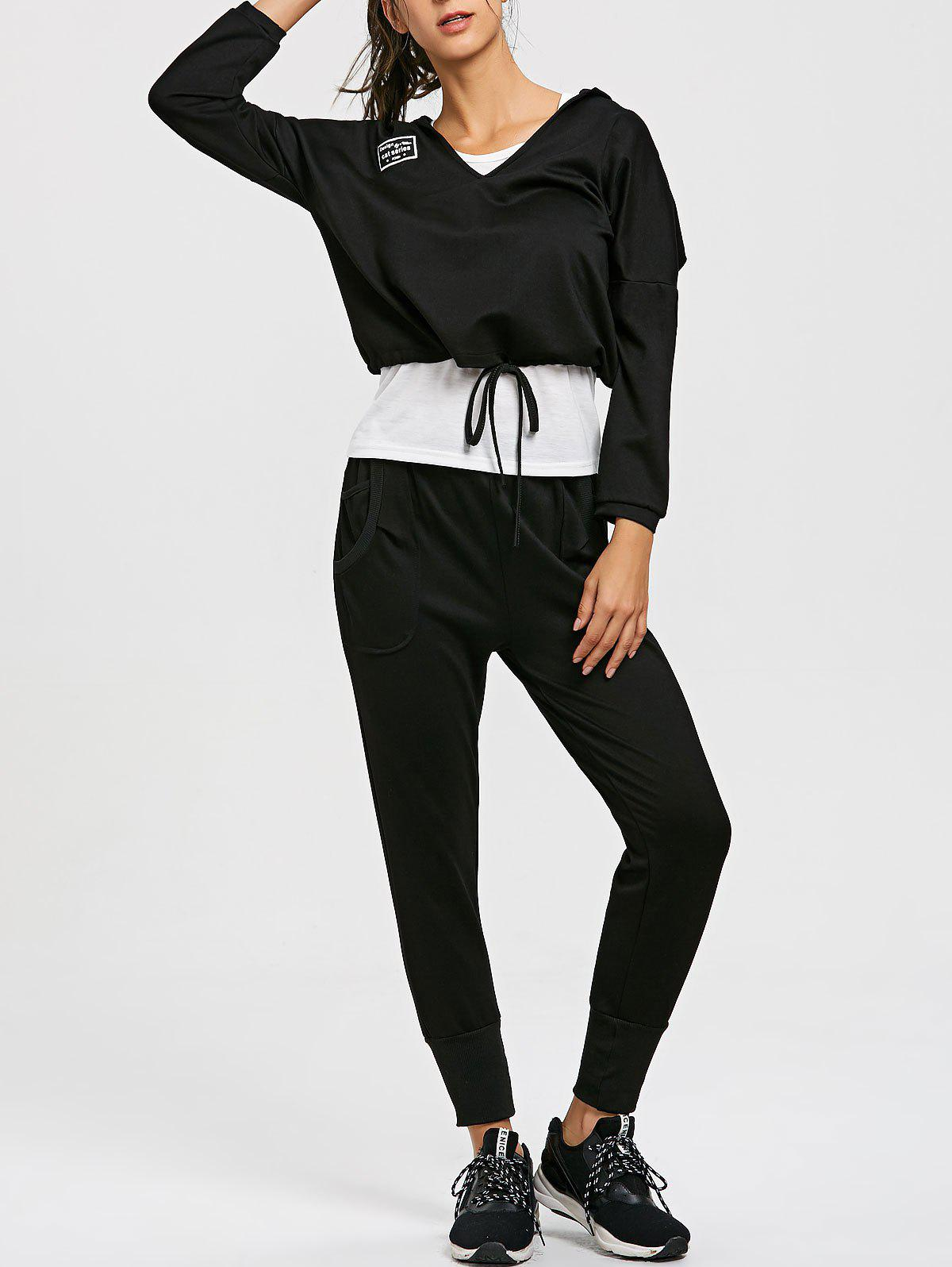 Drop Shoulder Hoodie Racerback Tank and Jogger Pants Suit - BLACK XL
