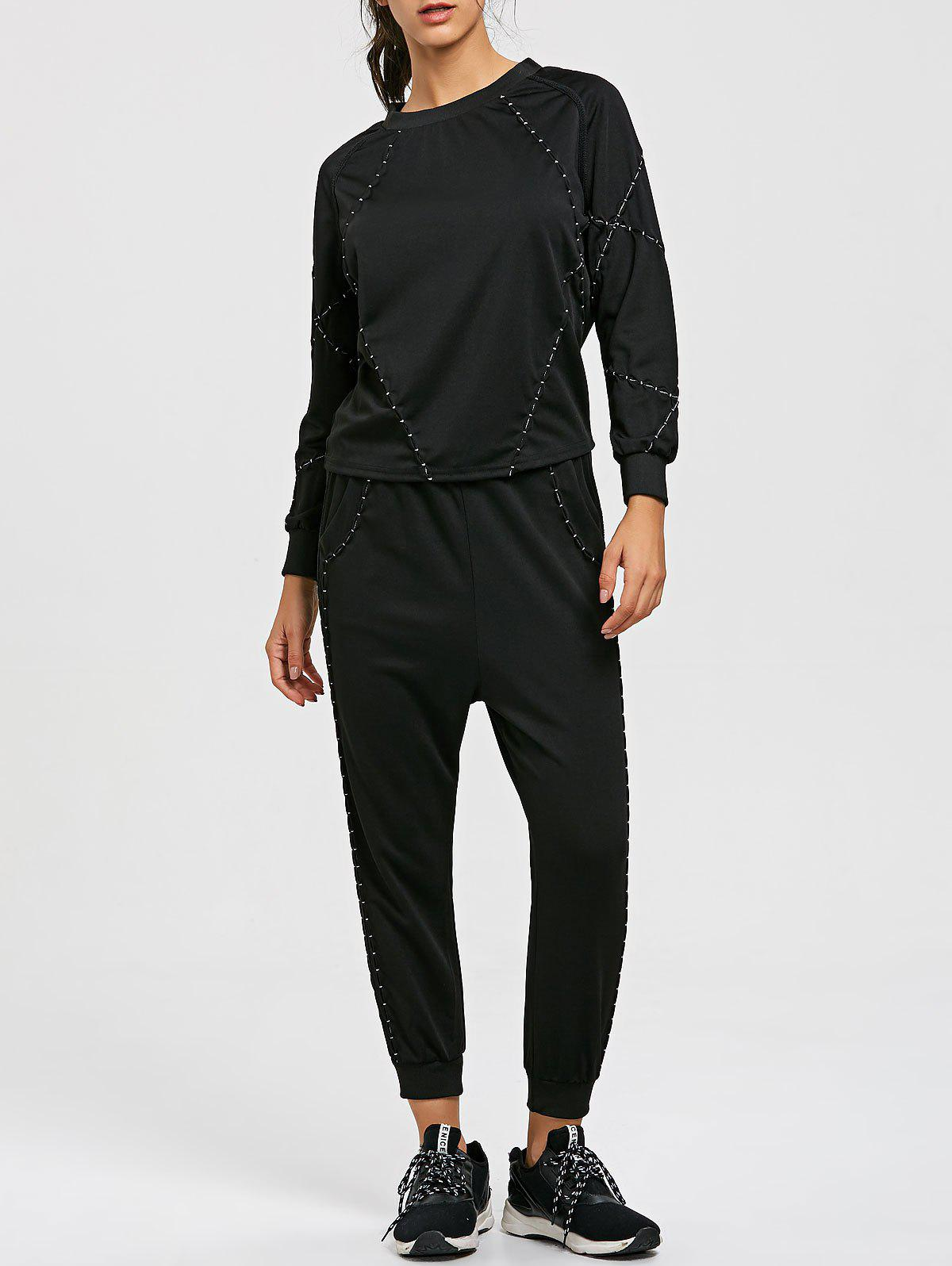 Raglan Sleeve Sweatshirt with Drawstring Jogger Pants Suit - BLACK XL