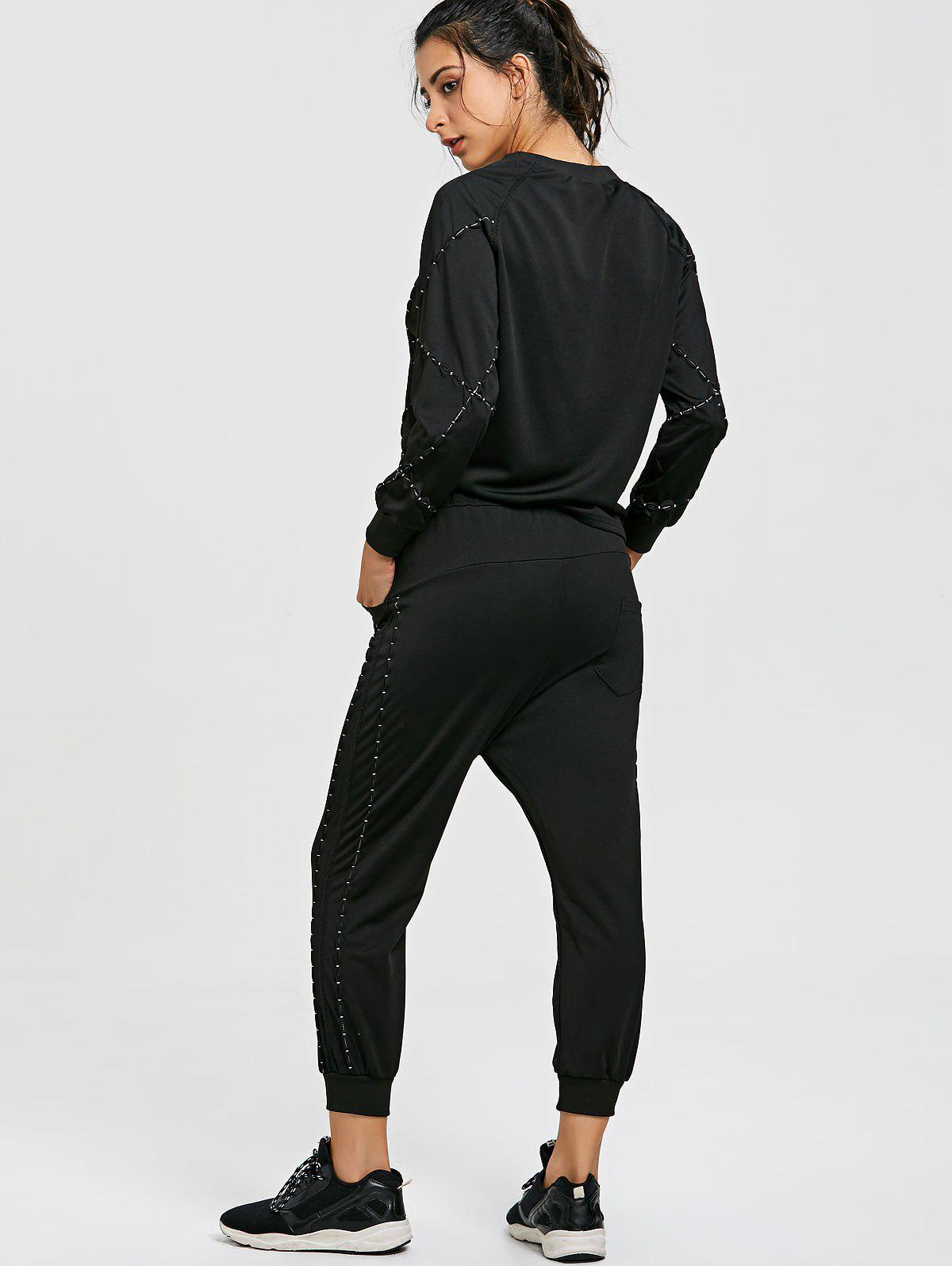 Raglan Sleeve Sweatshirt with Drawstring Jogger Pants Suit - BLACK L