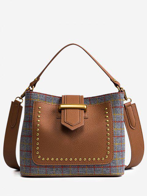 Studs Plaid Color Block Handbag - GRAY