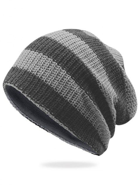 Striped Pattern Decorated Crochet Knitting Slouchy Beanie - LIGHT GREY