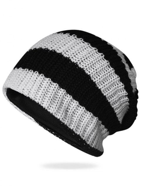 Striped Pattern Decorated Crochet Knitting Slouchy Beanie - BLACK