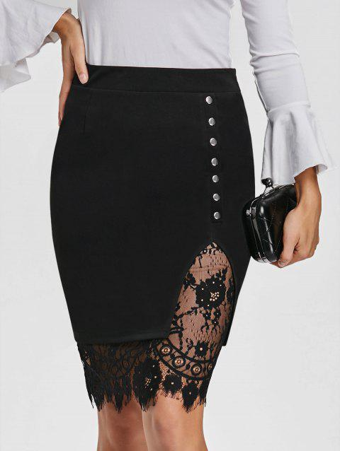 Slit Eyelash Lace Trimmed Bodycon Skirt - BLACK L