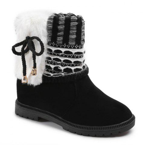Faux Fur Knitted Bowknot Snow Boots - BLACK 37