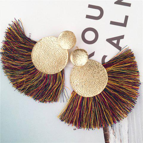 Hammered Disc Tassel Drop Earrings - COLORMIX