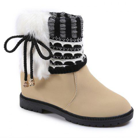 Faux Fur Knitted Bowknot Snow Boots - BEIGE 39