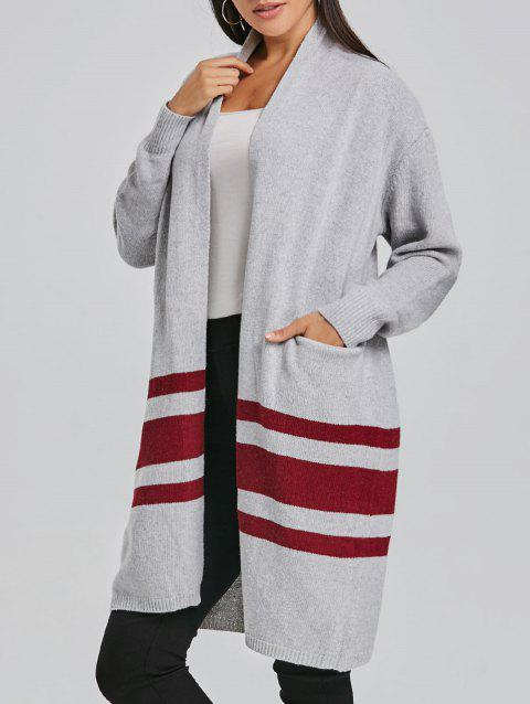 Cardigan à Rayures - Gris Clair ONE SIZE