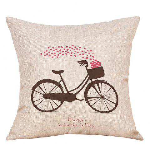 Bike Hearts Print Valentine's Day Linen Pillowcase - COLORMIX W18 INCH * L18 INCH