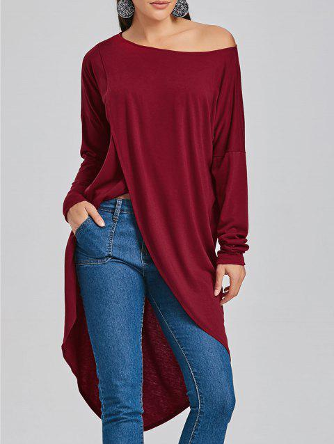 High Low Skew Neck Long T-shirt - WINE RED S