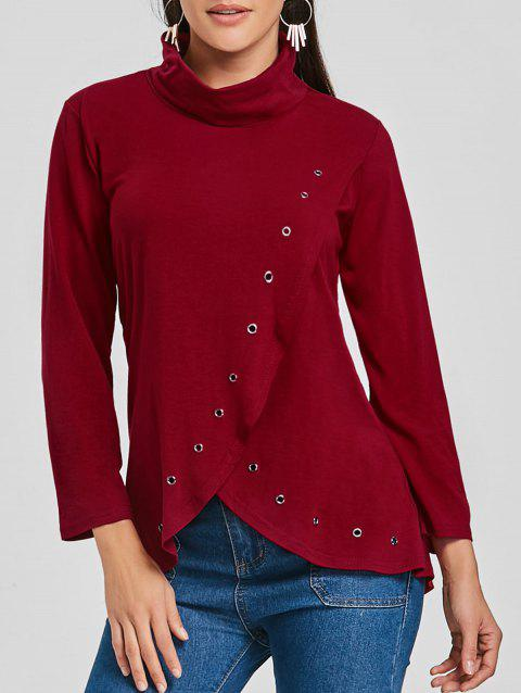 Asymmetrical High Neck Tunic T-shirt - WINE RED S