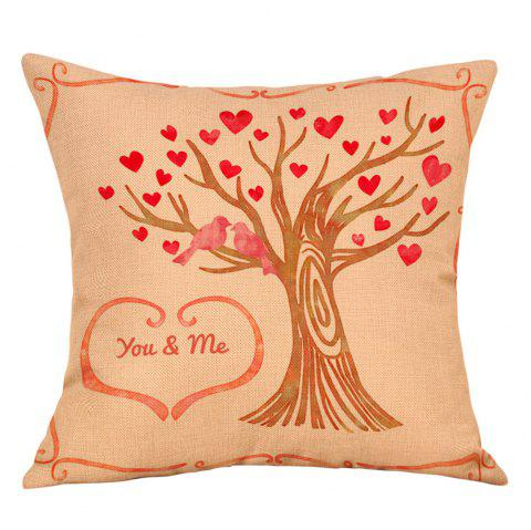 Hearts Tree Print Valentine's Day Linen Pillowcase - COLORMIX W18 INCH * L18 INCH