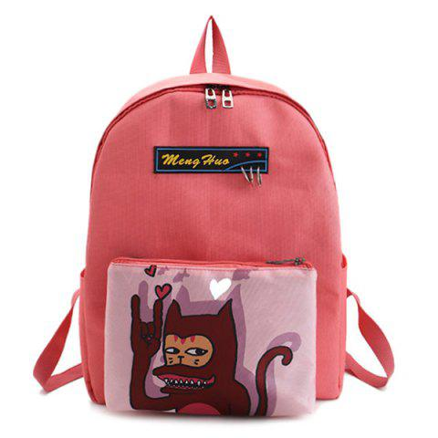 Cartoon Print 2 Pieces Detachable Backpack Set - PINK