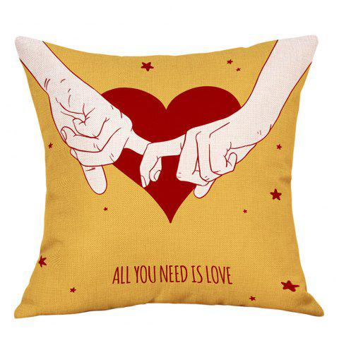 Lovers Heart Print Valentine's Day Linen Sofa Pillowcase - YELLOW W18 INCH * L18 INCH