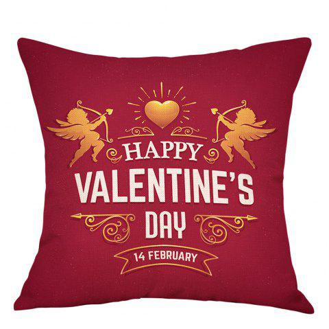 Valentine's Day Cupid Print Linen Pillowcase - RED W18 INCH * L18 INCH