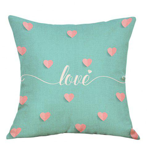 Coeurs Love Print Valentine  's Day Taie de canapé en lin - Vert clair W18 INCH * L18 INCH