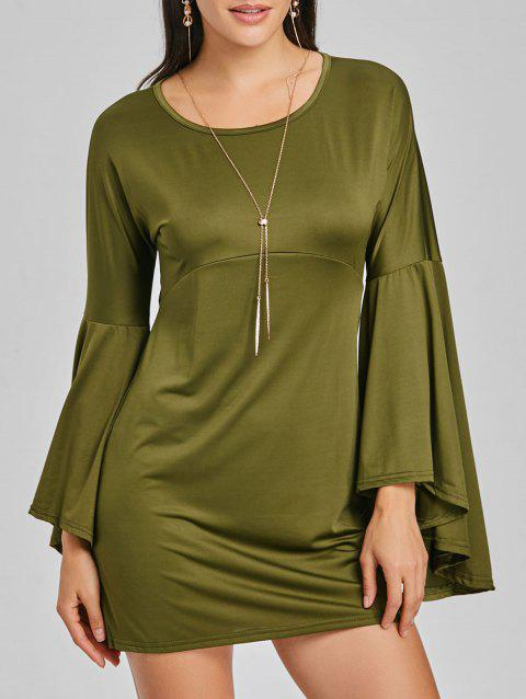 Bell Sleeve Mini Shift Dress - ARMY GREEN XL