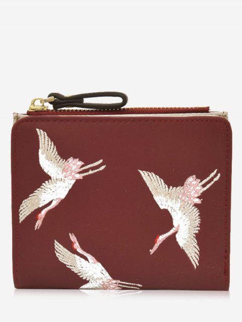 Birds Embroidery Bi Fold Portefeuille - Rouge