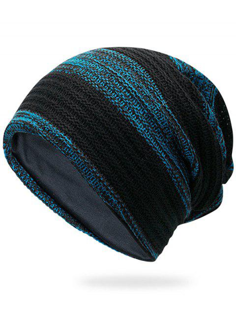 Simple Striped Pattern Slouchy Knitted Beanie - BLUE