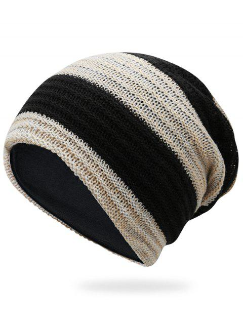 Simple Striped Pattern Slouchy Knitted Beanie - BEIGE