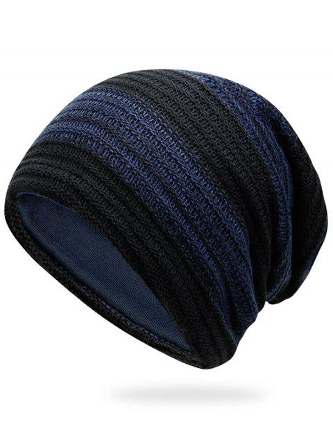 Simple Striped Pattern Slouchy Knitted Beanie - CERULEAN