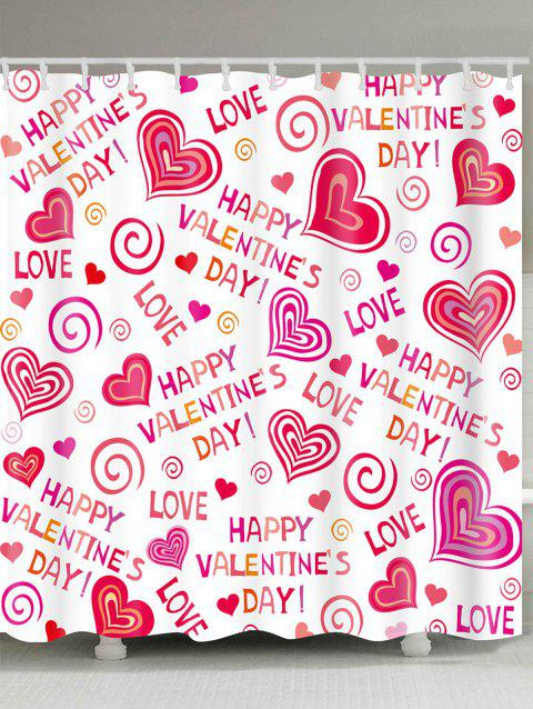 Waterproof Love Confession Letters Printed Valentines Day Shower Curtain