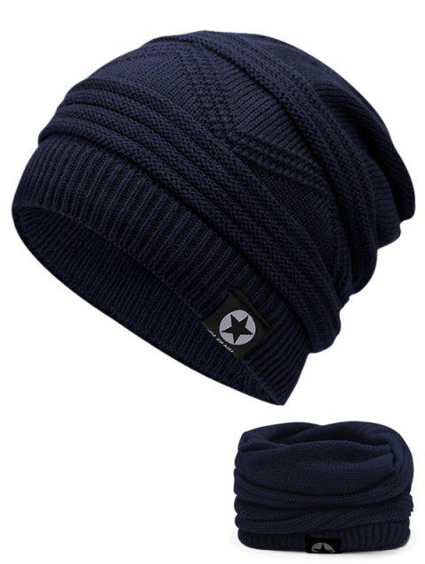Multipurpose Empty Top Decorated Slouchy Knitted Beanie - CERULEAN