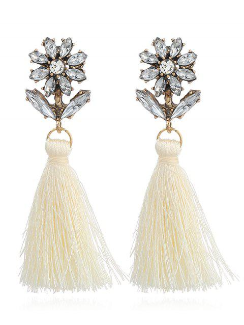 Bohemia Rhinestone Floral Shape Tassel Drop Earrings - WHITE