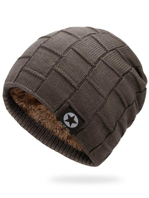 Simple Checkered Pattern Embellished Thicken Beanie - CAPPUCCINO