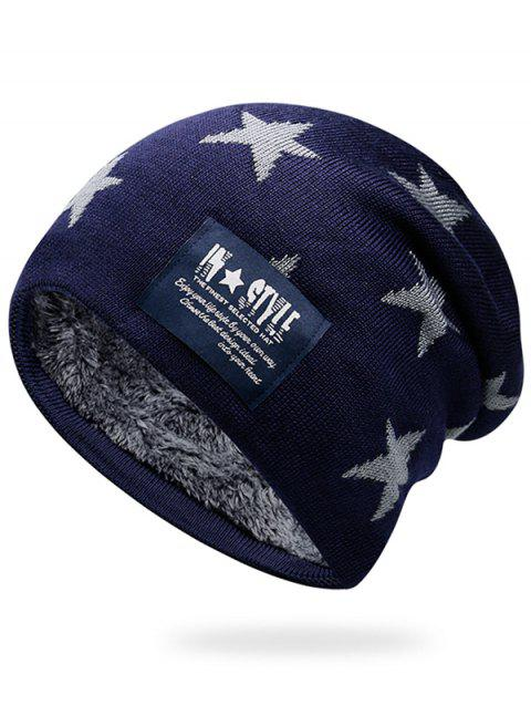 Simple Star Pattern Decorated Thicken Knitted Slouchy Beanie - ROYAL