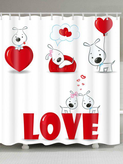 Valentine's Day Love Heart Puppies Patterned Shower Curtain - WHITE/RED W71 INCH * L79 INCH
