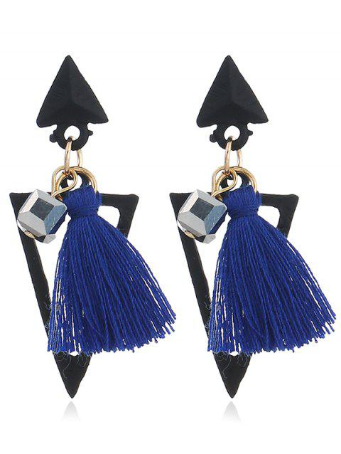 Double Triangle Shape Fringed  Decorated Drop Earrings - BLUE