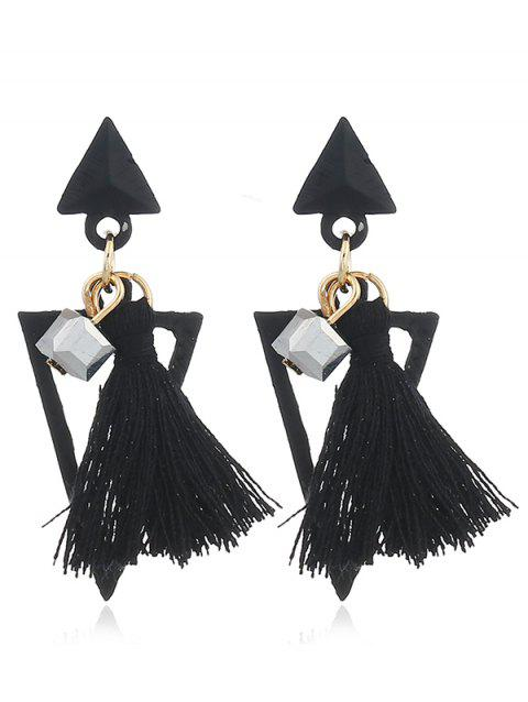 Double Triangle Shape Fringed  Decorated Drop Earrings - BLACK