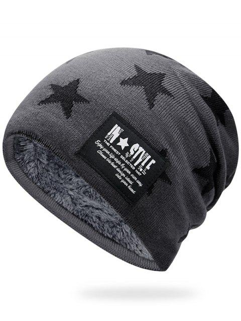 Simple Star Pattern Decorated Thicken Knitted Slouchy Beanie - LIGHT GREY