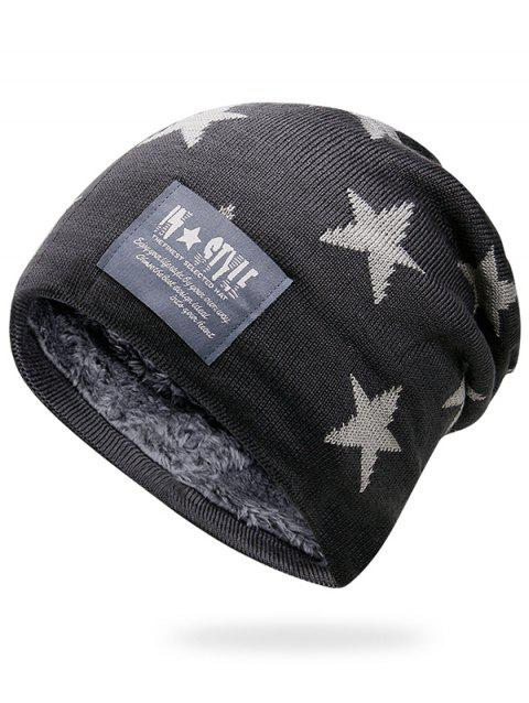 Simple Star Pattern Decorated Thicken Knitted Slouchy Beanie - DARK GRAY