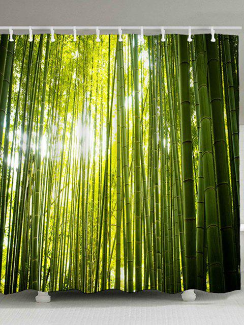 Bamboo Forest Printed Waterproof Fabric Shower Curtain - GREEN W59 INCH * L71 INCH