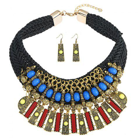Statement Alloy Crochet Earrings and Necklace - BLACK