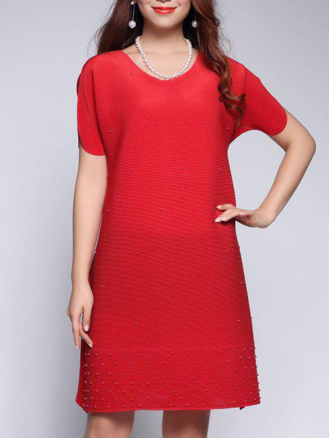 Beaded Petal Sleeve Mini Dress - RED ONE SIZE