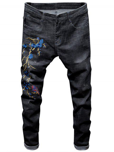 Florals and Bird Embroidered Ripped Jeans - BLACK 34