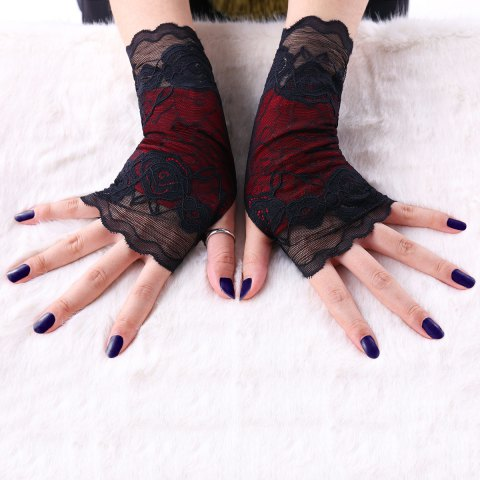 A Pair of Gothic Lace Fingerless Gloves - BLACK L