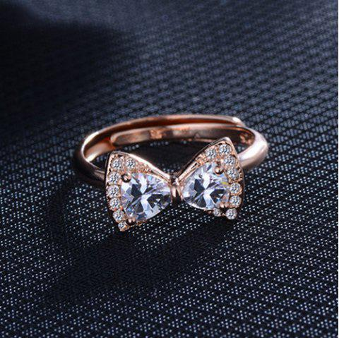 Rhinestoned Bowknot Finger Ring - GOLDEN ONE-SIZE