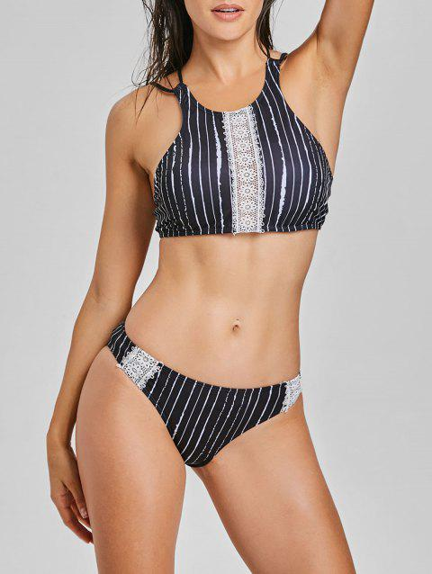 Lace Panel Stripe High Neck Bikini Set - COLORMIX S